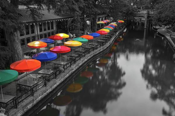 Photograph - San Antonio Riverwalk - Colorful Umbrellas With Monochrome by Gregory Ballos