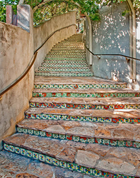 Tile Photograph - San Antonio Riverwalk Stairway by David and Carol Kelly