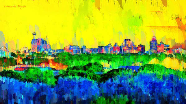 Texas Bluebonnet Digital Art - San Antonio Skyline 200 - Da by Leonardo Digenio