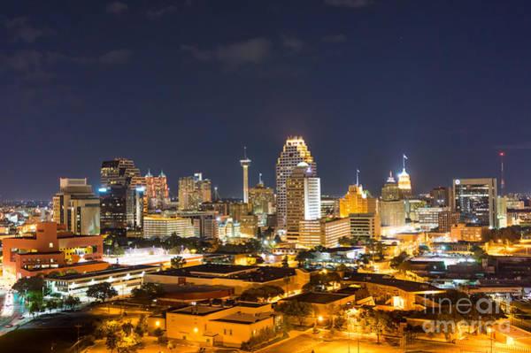 Hilton Hotel Digital Art - San Antonio Skyline At Night by Bee Creek Photography - Tod and Cynthia