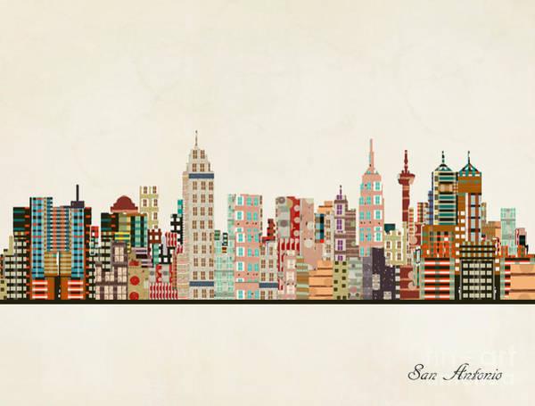 Wall Art - Painting - San Antonio Skyline by Bri Buckley