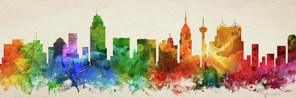 Wall Art - Digital Art - San Antonio Skyline Panorama Ustxsa-pa03 by Aged Pixel