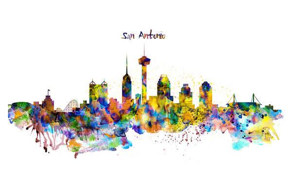 Beautiful Mixed Media - San Antonio Skyline Silhouette by Marian Voicu