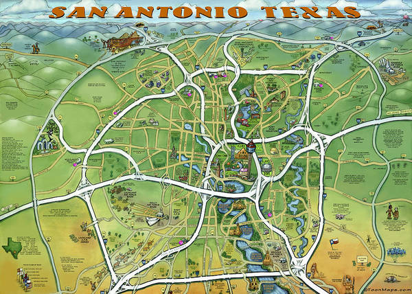 San Antonio Texas Cartoon Map Art Print