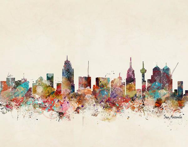 Wall Art - Painting - San Antonio Texas Skyline by Bri Buckley