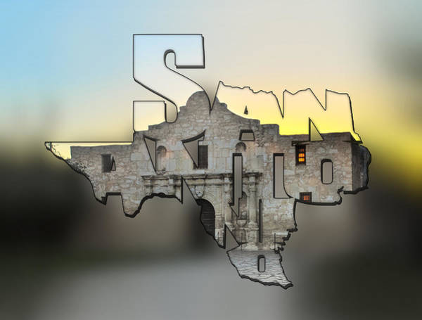 Photograph - San Antonio Texas Typography Blur - An Alamo Sunrise by Gregory Ballos