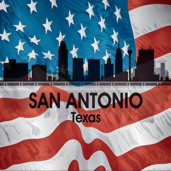Digital Art - San Antonio Tx American Flag Squared by Angelina Tamez