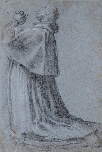 Pier Drawing - San Carlo Borromeo Kneeling His Hands Joined In Prayer by Pier Francesco Mazzucchelli