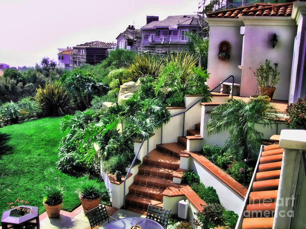 Digital Art - San Clemente Estate Backyard by Kathy Tarochione