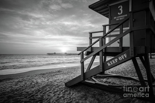 Wall Art - Photograph - San Clemente Lifeguard Tower Three Black And White Photo by Paul Velgos