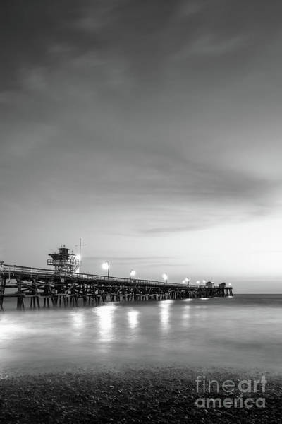 2017 Photograph - San Clemente Pier At Night Black And White Photo by Paul Velgos