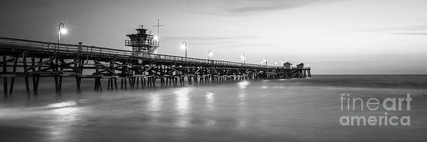 2017 Photograph - San Clemente Pier Black And White Panorama Photo by Paul Velgos
