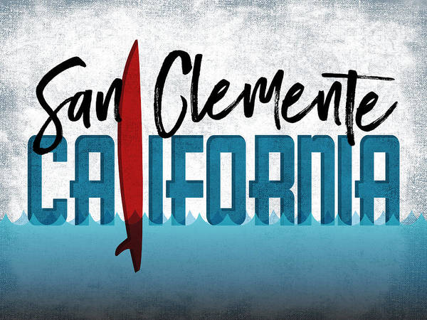 California Beaches Digital Art - San Clemente Red Surfboard	 by Flo Karp