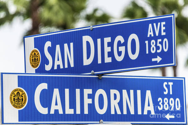 Photograph - San Diego And California Street Sign by David Levin