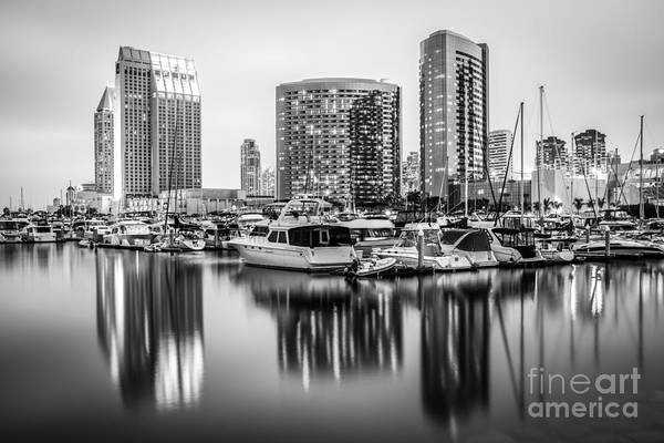 2012 Photograph - San Diego At Night Black And White Picture by Paul Velgos