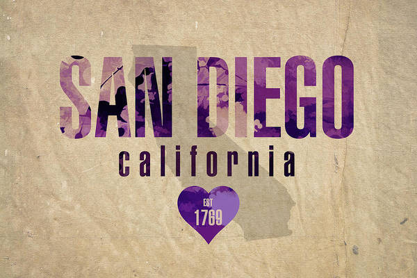 Wall Art - Mixed Media - San Diego California City Love Established 1789 Series 004 by Design Turnpike