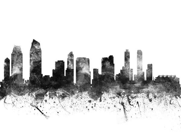 San Diego Digital Art - San Diego California Cityscape 02bw by Aged Pixel