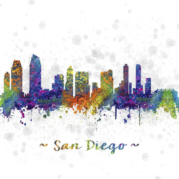 San Diego Digital Art - San Diego California Skyline Color 03sq by Aged Pixel