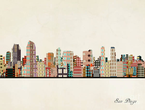 Wall Art - Painting - San Diego City Skyline by Bri Buckley