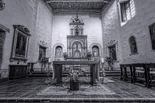 Wall Art - Photograph - San Diego De Alcala Altar - Bw by Stephen Stookey