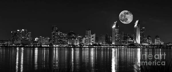 Coronado Photograph - San Diego Full Moon Panorama by Art K