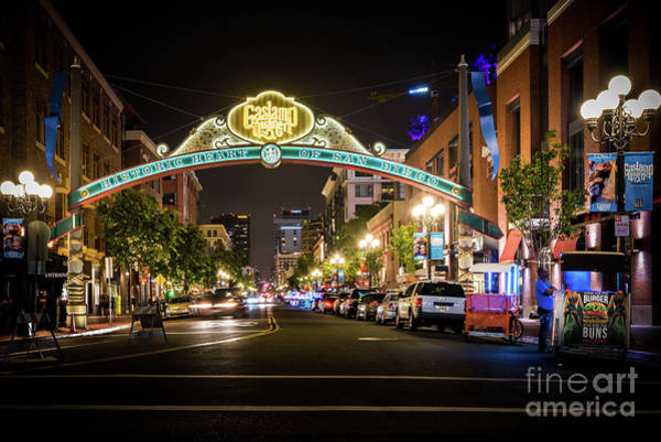 Photograph - San Diego Gaslamp Quarter At Night by David Levin