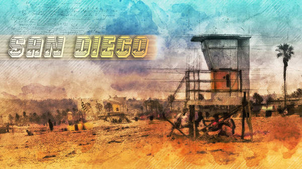 Mixed Media - San Diego Lifeguard Tower by Bryant Coffey