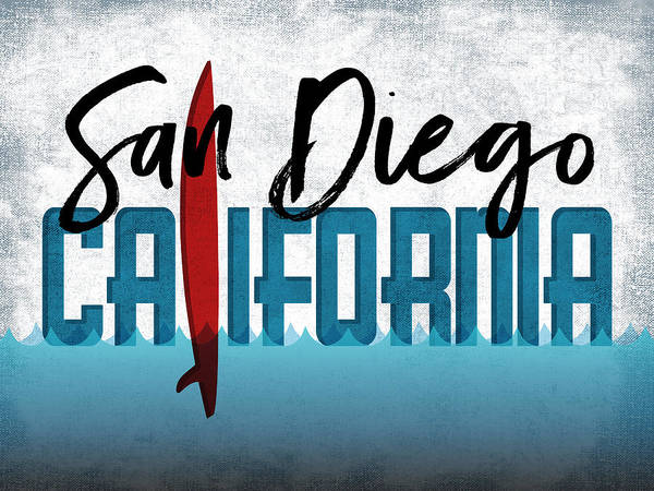 California Beaches Digital Art - San Diego Red Surfboard	 by Flo Karp