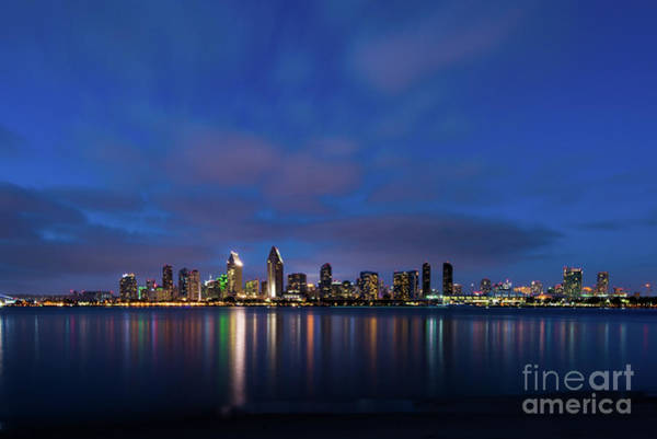 Photograph - San Diego Skyline At Night by David Levin