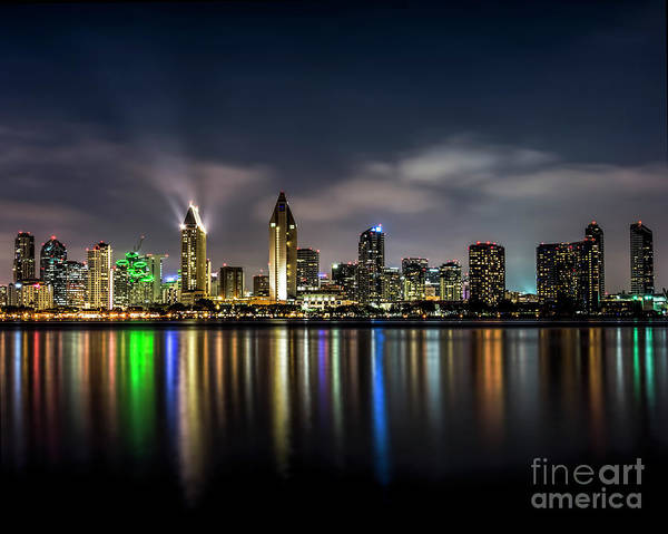 Photograph - San Diego Skyline At Night by Ken Johnson