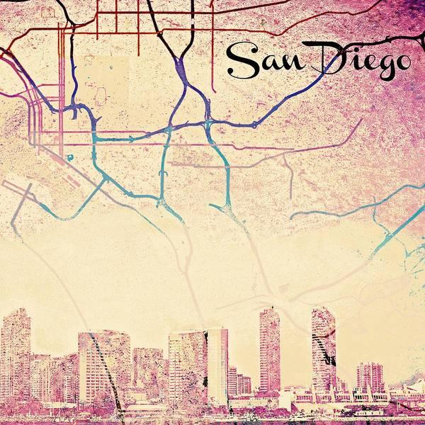 West Bay Digital Art - San Diego Skyline by Brandi Fitzgerald