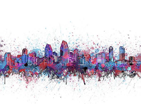 San Diego Digital Art - San Diego Skyline Color Splatter by Bekim M