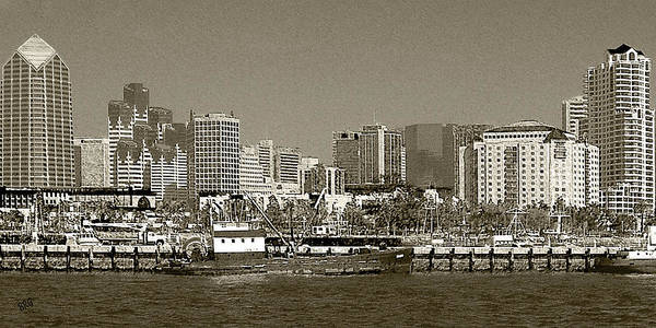 Photograph - San Diego Skyline In Sepia by Ben and Raisa Gertsberg