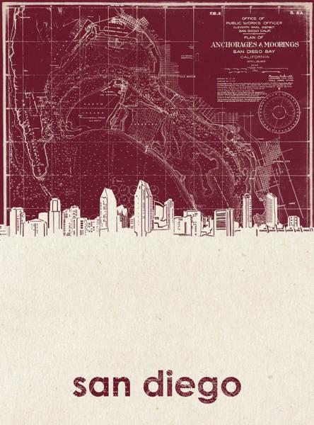 San Diego Digital Art - San Diego Skyline Map 3 by Bekim M
