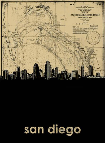 San Diego Digital Art - San Diego Skyline Map by Bekim M