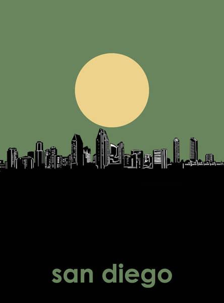 San Diego Digital Art - San Diego Skyline Minimalism 2 by Bekim M