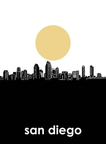 San Diego Digital Art - San Diego Skyline Minimalism by Bekim M