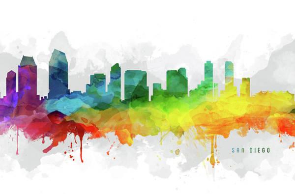 San Diego Digital Art - San Diego Skyline Mmr-uscasd05 by Aged Pixel