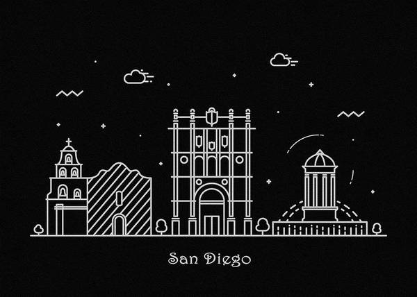 Wall Art - Drawing - San Diego Skyline Travel Poster by Inspirowl Design