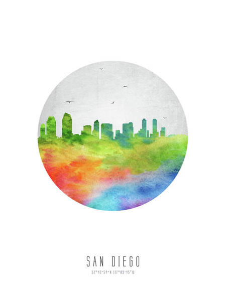 San Diego Digital Art - San Diego Skyline Uscasd20 by Aged Pixel