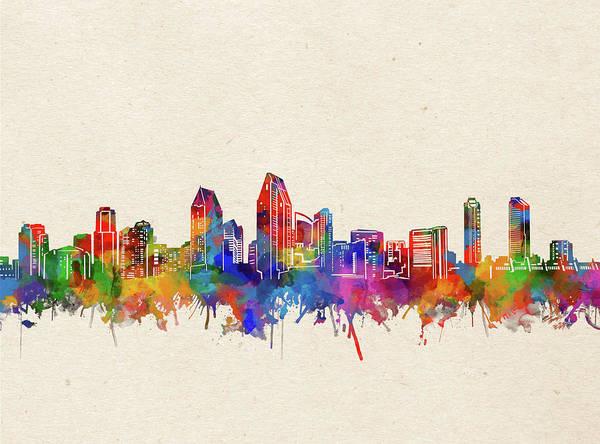 San Diego Digital Art - San Diego Skyline Watercolor 2 by Bekim M