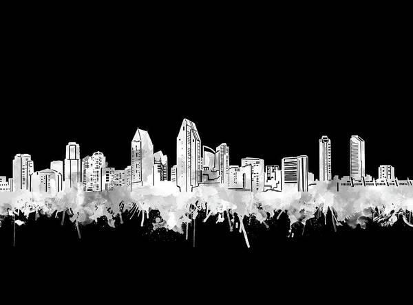 San Diego Digital Art - San Diego Skyline Watercolor Black And White 2 by Bekim M