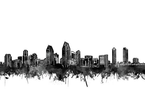 San Diego Digital Art - San Diego Skyline Watercolor Black And White by Bekim M