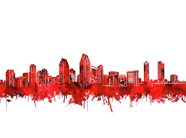 San Diego Digital Art - San Diego Skyline Watercolor Red by Bekim M