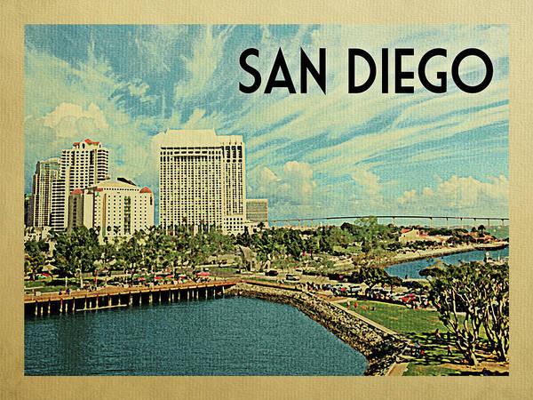 Wall Art - Digital Art - San Diego Travel Poster by Flo Karp