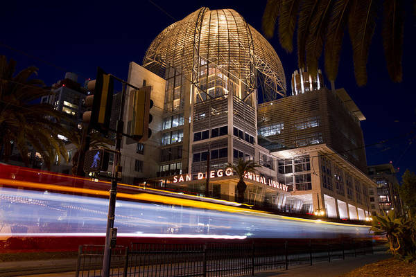 Photograph - San Diego Trolley In Front Of The San Diego Public Library by Nathan Rupert