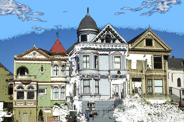 Drawing - San Francisco Alamo Square - Modern Art Painting by Peter Potter