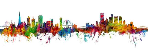 Wall Art - Digital Art - San Francisco And Pittsburgh Skylines Mashup by Michael Tompsett