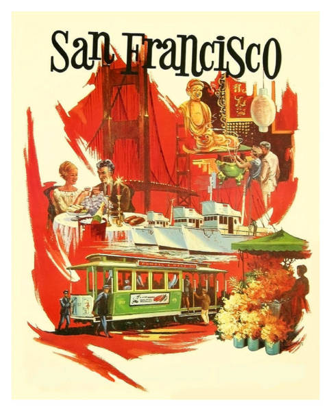 Wall Art - Painting - San Francisco Attractions, Travel Poster by Long Shot