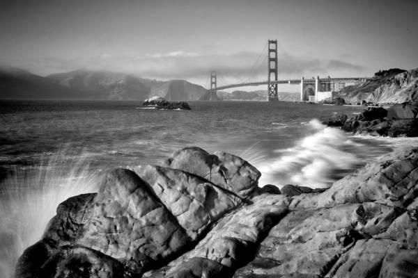 Us West Coast Photograph - San Francisco Baker Beach Monochrome by Melanie Viola